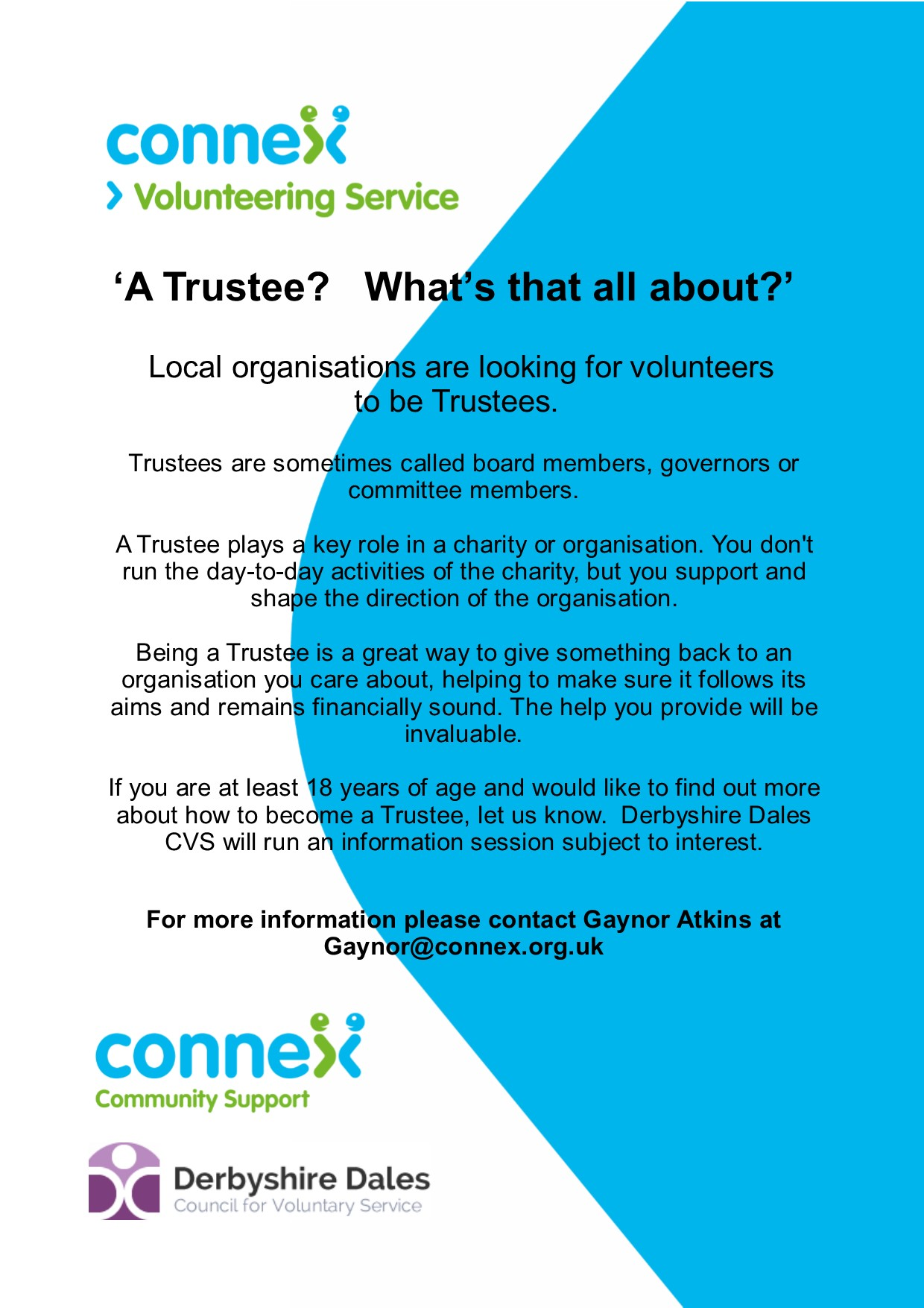 Poster encouraging people to find out about becoming a Trustee