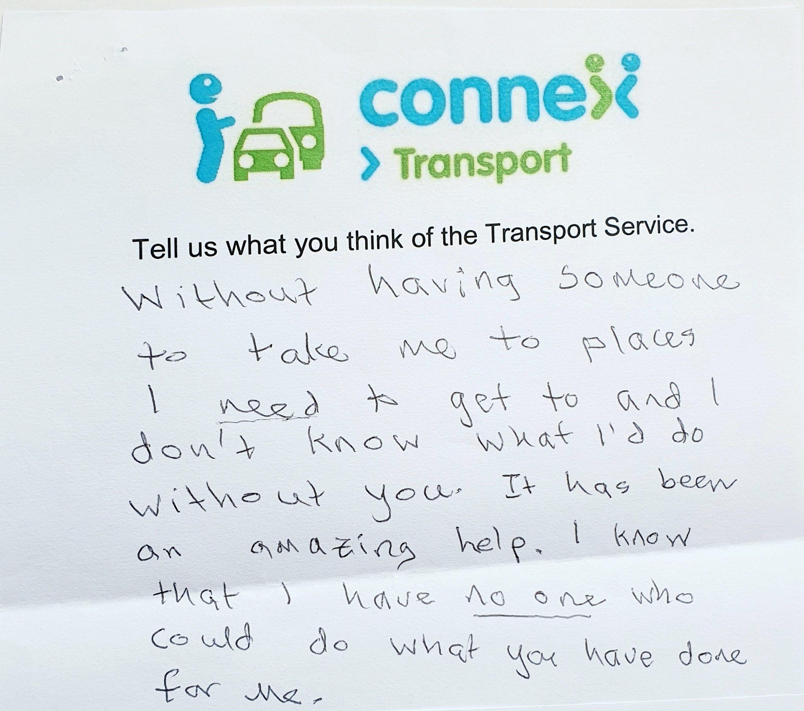 Letter from grateful transport client
