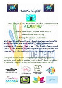 Poster for Leons Light World Mental Health Day event